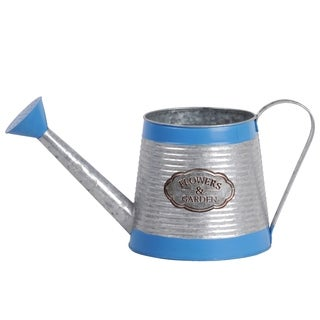 UTC56600: Zinc Round Watering Can with Painted Blue Banded Rim Top and Bottom, Ribbed Design Body, and Flarred Bottom Silver