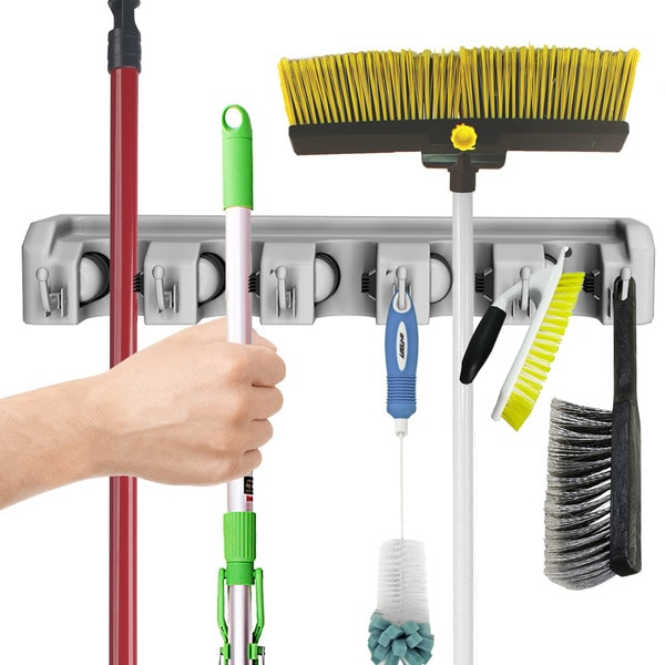 Rake and Tool Holder with Hooks Shovel Wall Mounted Organizer for Garage