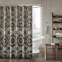 INK+IVY Orissa Grey Cotton Printed Shower Curtain