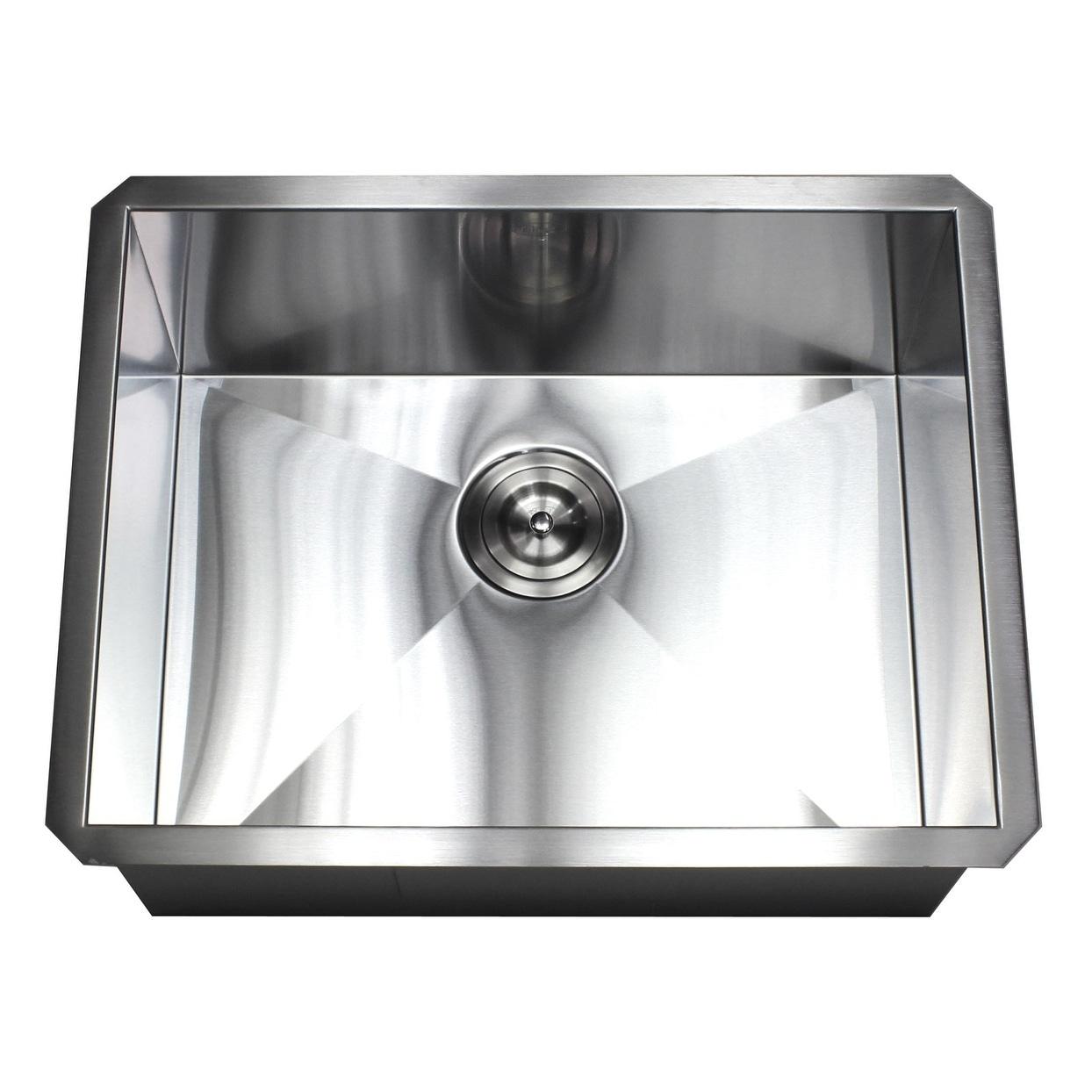 Shop 23 Inch Stainless Steel 16 Gauge Single Bowl Undermount Zero Radius  Kitchen Island Bar Sink   On Sale   Free Shipping Today   Overstock    20221045