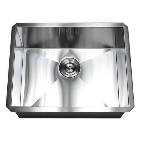 23-inch Stainless Steel 16 Gauge Single Bowl Undermount Zero Radius Kitchen Island Bar Sink