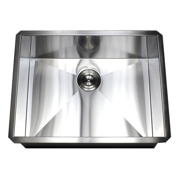 Kitchen Island With Sink Dimensions: Shop 26-inch Stainless Steel 16 Gauge Single Bowl Undermount Zero Radius Kitchen Island Bar Sink
