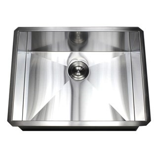 26-inch Stainless Steel 16 Gauge Single Bowl Undermount Zero Radius Kitchen Island Bar Sink