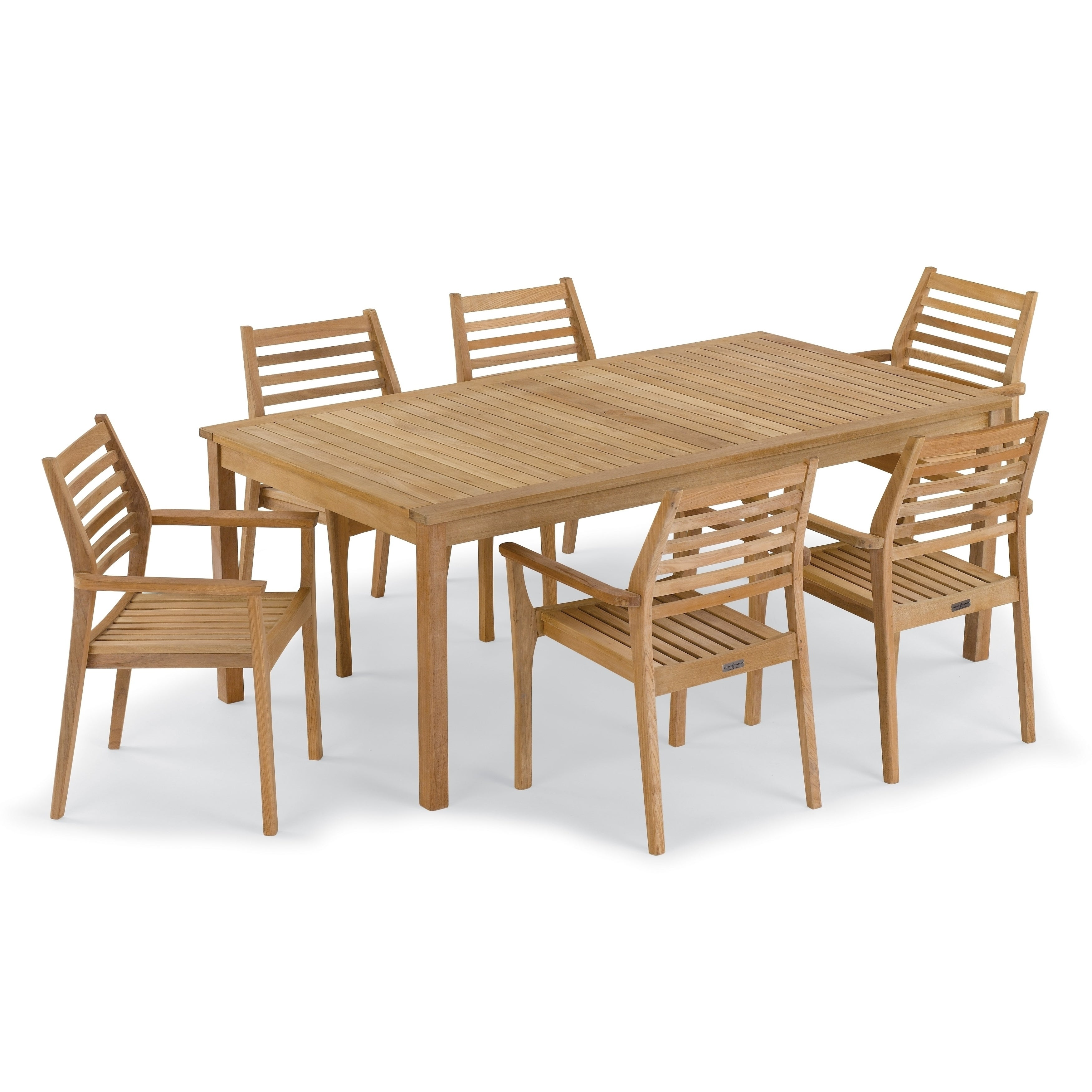 Oxford Garden Hampton 7 Piece 76 Inch X 40 Table Mera Stacking Armchair Set No Cushion