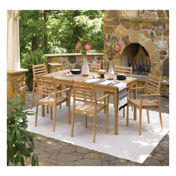 Shop Oxford Garden Hampton 7-piece 76-inch x 40-inch Table ... on Safavieh Outdoor Living Horus Dining Set id=27940