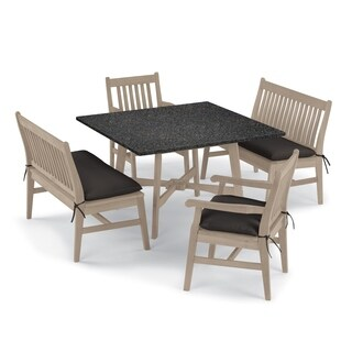 Oxford Garden Wexford 5-piece Lite-Core Charcoal Table, Shorea Grigio Chair and Bench Dining Set - Canvas Black Cushions