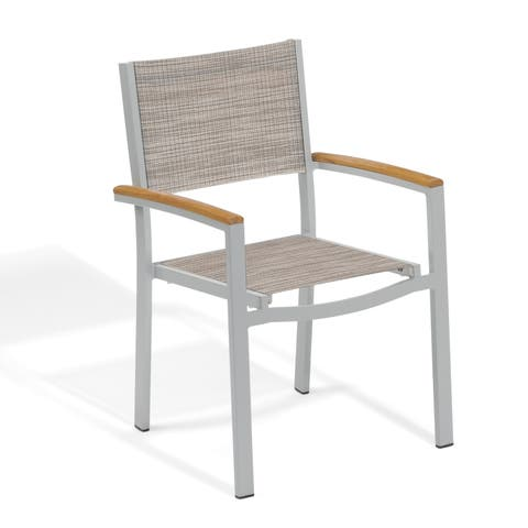 Oxford Garden Travira Sling Armchair with Powder Coated Aluminum Frame and Tekwood Natural Armcaps - Bellows (Set of 4)