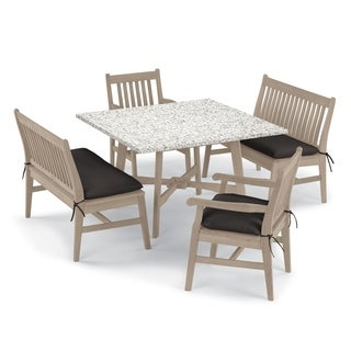 Oxford Garden Wexford 5-piece Lite-Core Ash Table, Shorea Grigio Chair and Bench Dining Set - Canvas Black Cushions