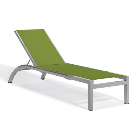 Oxford Garden Argento Armless Chaise Lounge with Powder Coated Aluminum Frame and Argento Side Rails - Go Green Sling (Set of 4)
