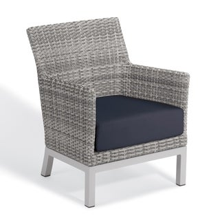 Oxford Garden Argento Resin Wicker Club Chair with Powder Coated Aluminum Legs - Midnight Blue Polyester Cushion