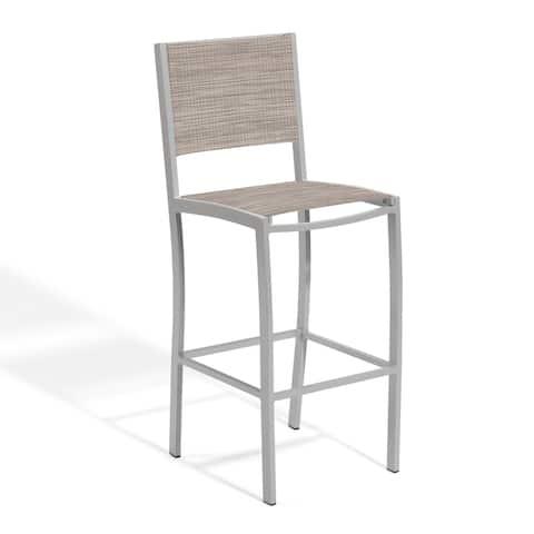 Oxford Garden Travira Bar Chair with Powder Coated Aluminum Frame - Bellows Sling