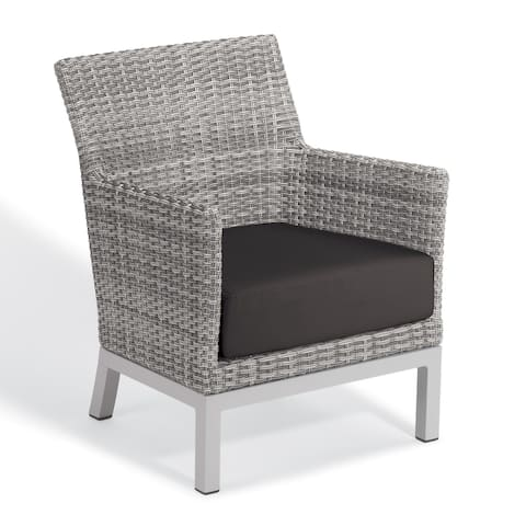 Oxford Garden Argento Resin Wicker Club Chair with Powder Coated Aluminum Legs - Jet Black Polyester Cushion