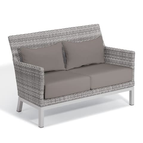 Oxford Garden Argento Resin Wicker Loveseat with Powder Coated Aluminum Legs - Lumbar Pillow and Stone Polyester Cushion