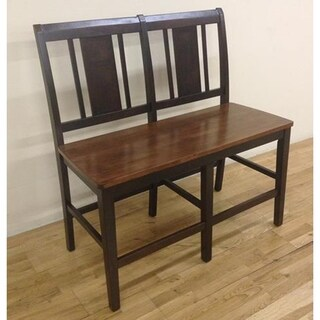Latitudes Ginger and Chestnut Vertical Back Counter Height Bench