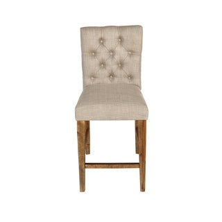 Normandy Vintage Distressed Button Tufted Counter Chairs (Set of 2)