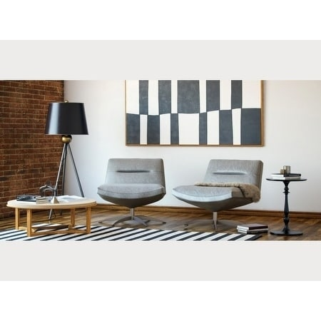 Alfio Grey Leather/Metal/Wood Contemporary Swivel Chair - Free Shipping Today - Overstock.com - 26109518  sc 1 st  Overstock.com & Alfio Grey Leather/Metal/Wood Contemporary Swivel Chair - Free ...