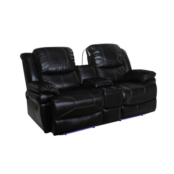 Flynn Premier Black Power Motion Dual Recliner Console Loveseat