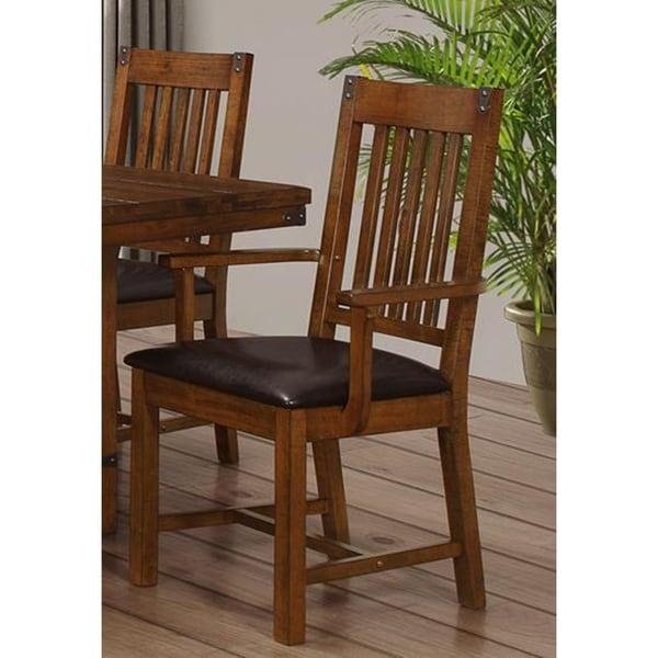 Buchanan Brown Mahogany Slat Back Arm Chairs (Set of 2)  sc 1 st  Overstock.com & Shop Buchanan Brown Mahogany Slat Back Arm Chairs (Set of 2) - Free ...