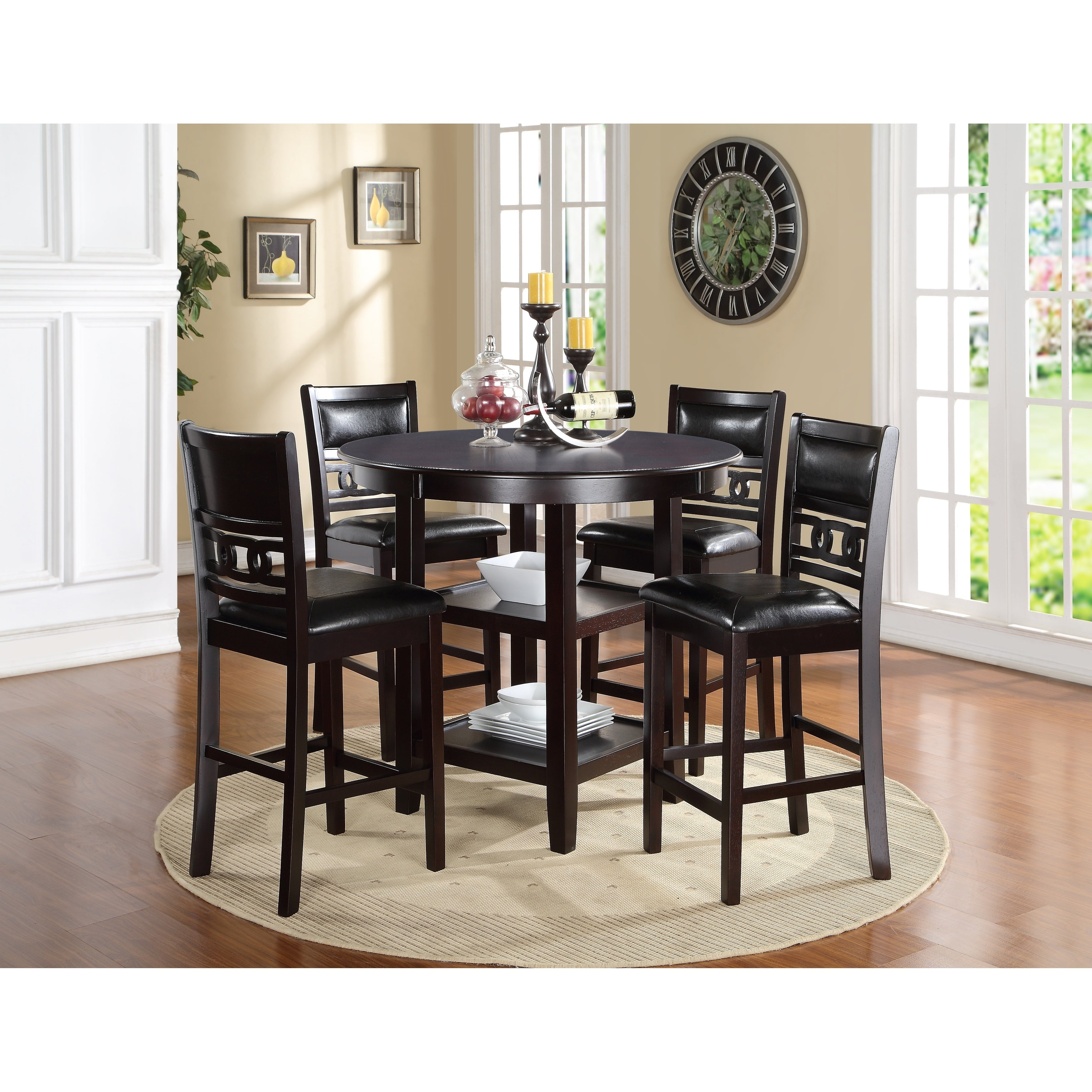 Picture of: Gia Ebony Counter Height Round Table 5 Piece Dining Set Overstock 20222785