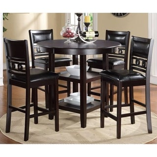 Gia Ebony Counter Height Round Table 5-piece Dining Set