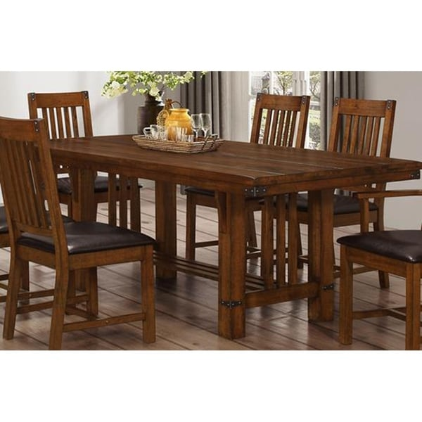 Buchanan Brown Mahogany Solid Plank Top Dining Table