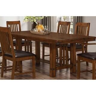 Buchanan Brown Mahogany Solid Plank Top Dining Table
