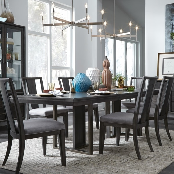 Proximity Heights Contemporary Double Pedestal Dining Table Smoke Anthracite 40 L X 78
