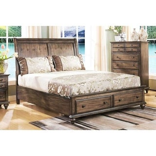 Fallbrook Weathered Brown Queen Storage Sleigh Bed  sc 1 st  Overstock.com & Buy Sleigh Bed Storage Online at Overstock.com | Our Best Bedroom ...