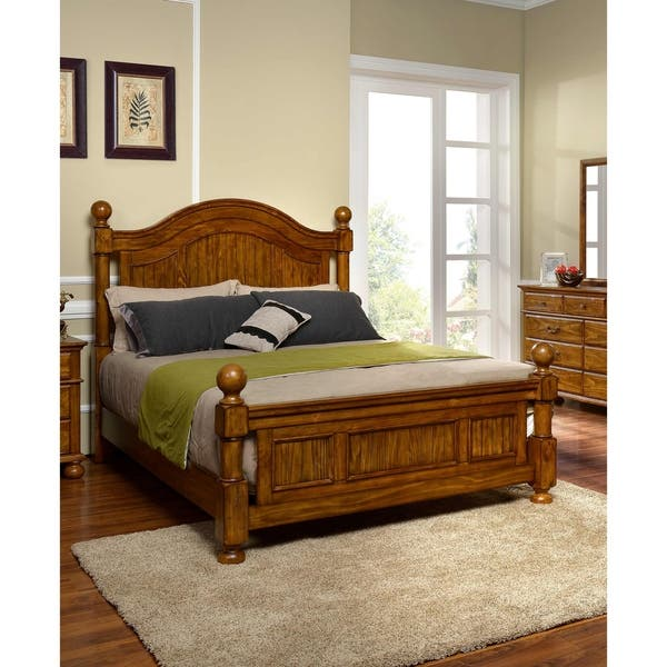 Shop Cumberland Antique Pine Rustic Queen Bed - On Sale - Free ...