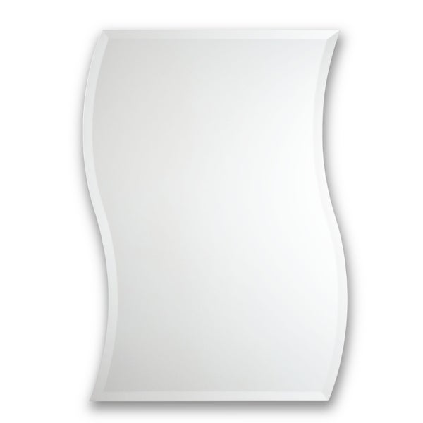Frameless Wave-Style Beveled Wall Mirror - Silver