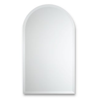 Frameless Arched Top Beveled Wall Mirror - Silver