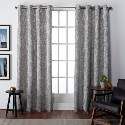 Copper Grove Bouvardia Finesse Faux Linen Grommet Top Curtain Panel Pair