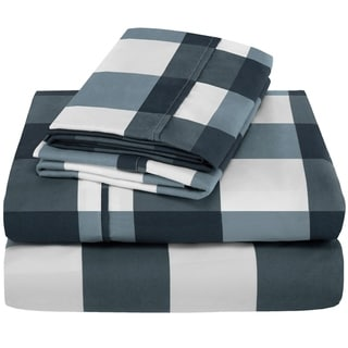 Porch & Den Lost Luxury Premium 1800 Series Ultra-Soft Collection Sheet Set (Twin XL - Gingham Blue)