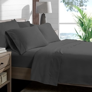 Porch & Den Lost Luxury Premium 1800 Series Ultra-Soft Collection Sheet Set (Split Queen - Grey)