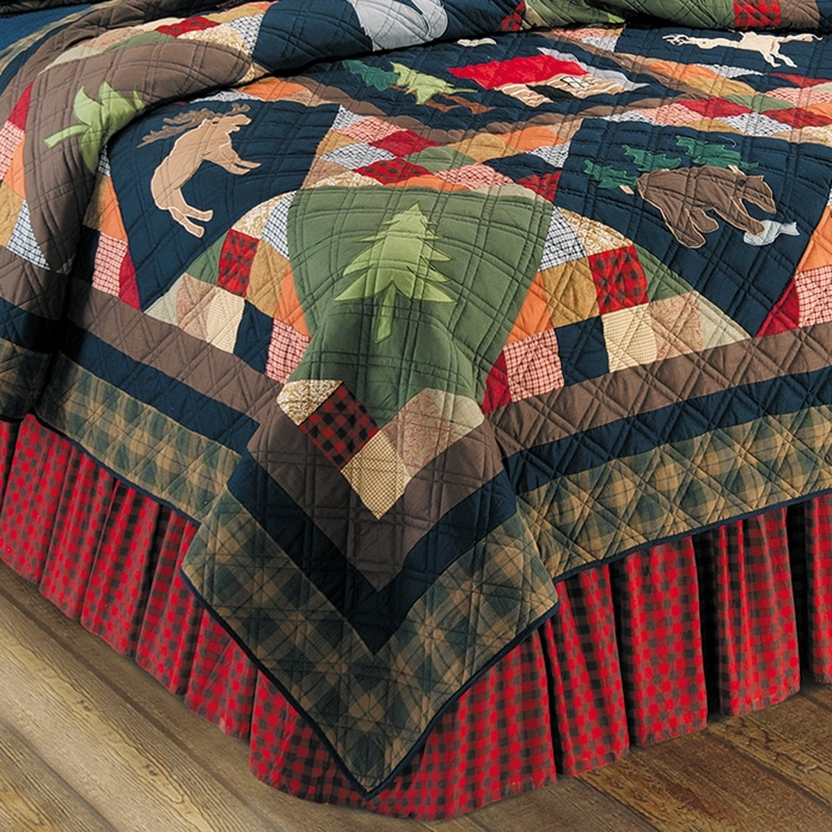 TIMBERLINE Lodge Patchwork Twin Quilt MOOSE BEAR CABIN PINE TREES Comforter C/&F