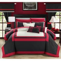 Copper Grove Minesing 20-piece Red and Black Color Blocked Comforter Set