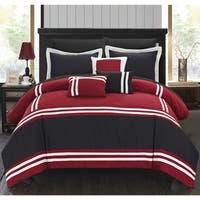 Porch & Den Lou Neff Red and Black Oversized 10-piece Bed in a Bag with Sheet Set