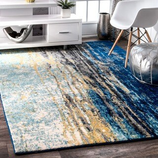 Porch & Den Percy Abstract Blue Vintage Runner Rug - 2'8 x 8'