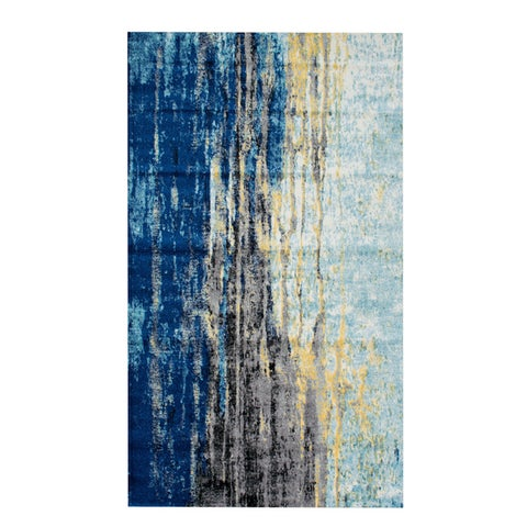 Porch & Den Percy Abstract Blue Vintage Area Rug