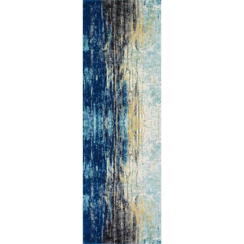 Porch & Den Percy Abstract Blue Vintage Area Rug