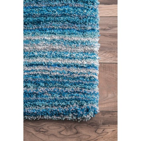 Strick & Bolton Lawrie Handmade Striped Plush Shag Rug