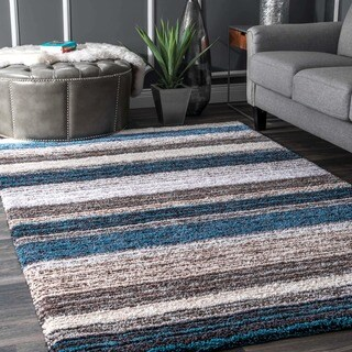 Strick & Bolton Lawrie Handmade Striped Plush Shag Rug - 5' x 8'