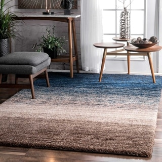 Strick & Bolton Lawrie Handmade Striped Plush Shag Rug (navy/multi - 5 x 8)
