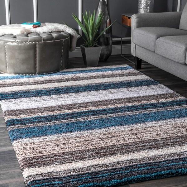 Havenside Home Siesta Handmade Striped Plush Shag Rug (9' x 12')