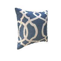 Copper Grove Kalamoir Lattice Damask Blue 16.5-inch Throw Pillow