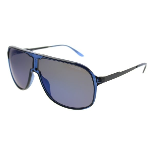 40980729b435 Carrera Aviator New Safari/S KMF Unisex Blue Frame Sky Blue Mirror Lens  Sunglasses