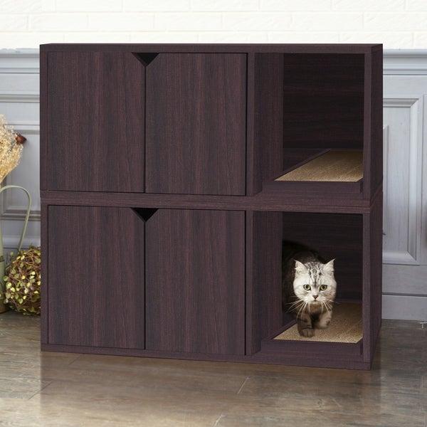 Shop Eco Modern Double Cat Litter Box Furniture Espresso Lifetime