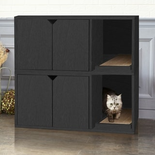Shop Eco Modern Double Cat Litter Box Furniture Black