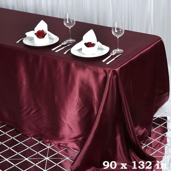 """90 x 132"""" Rectangle Satin Tablecloth Burgandy"""