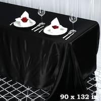 "90 x 132"" Rectangle Satin Tablecloth Black"